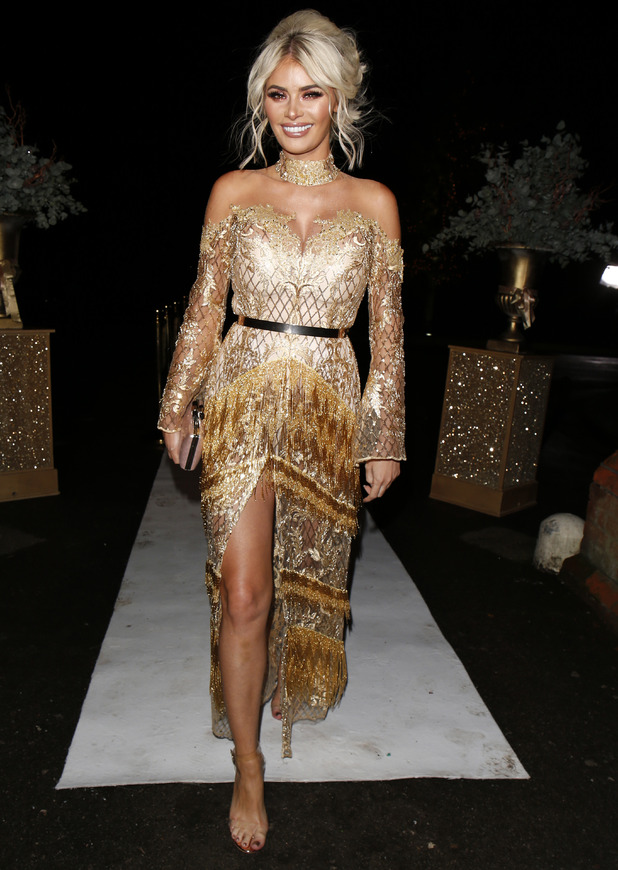 TOWIE star Chloe Sims wears all gold at the finale party, Essex, 7 November 2016