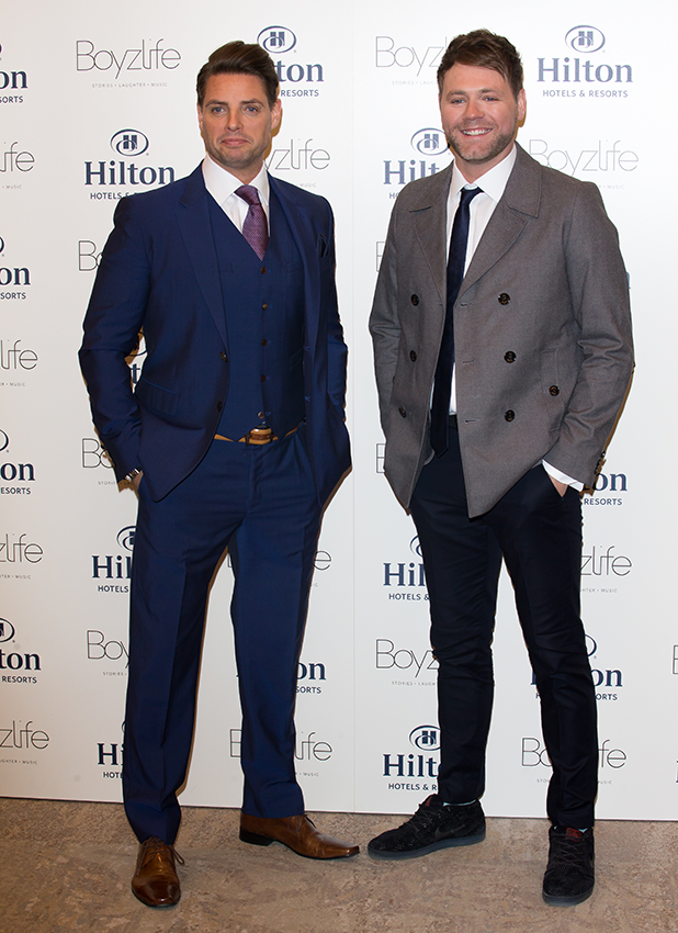 Brian McFadden and Keith Duffy from Westlife and Boyzone, have joined forces to create Boyzlife at Hilton London Bankside on March 8, 2016 in London, England. (Photo by Luca Teuchmann/WireImage)