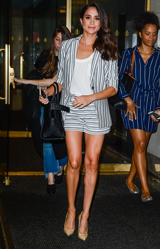Actress Meghan Markle leaves the 'Today Show' taping at NBC Rockefeller Center Studios on July 14, 2016 in New York City. (Photo by Ray Tamarra/GC Images)