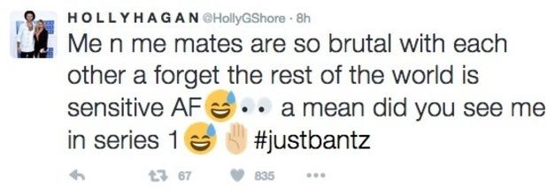Holly Hagan tweets about Geordie Shore 14 November