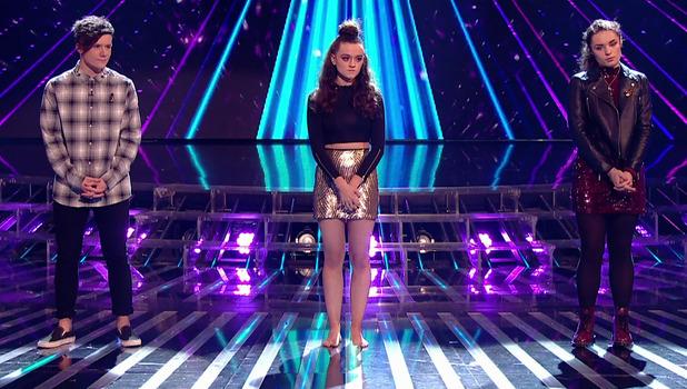 Emily Middlemas in bare feet on The X Factor, ITV 14 November
