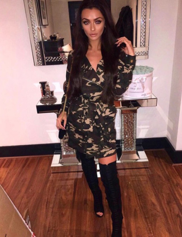 Love Island star Kady McDermott wears camouflage dress, Instagram, 14 November 2016