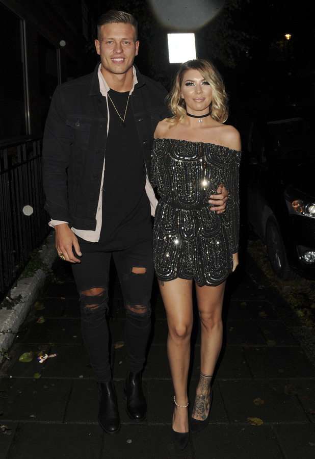 Love Island stars Olivia Buckland and Alex Bowen attend Olivia Buckland's Quiz clothing launch party, London, 16 November 2016