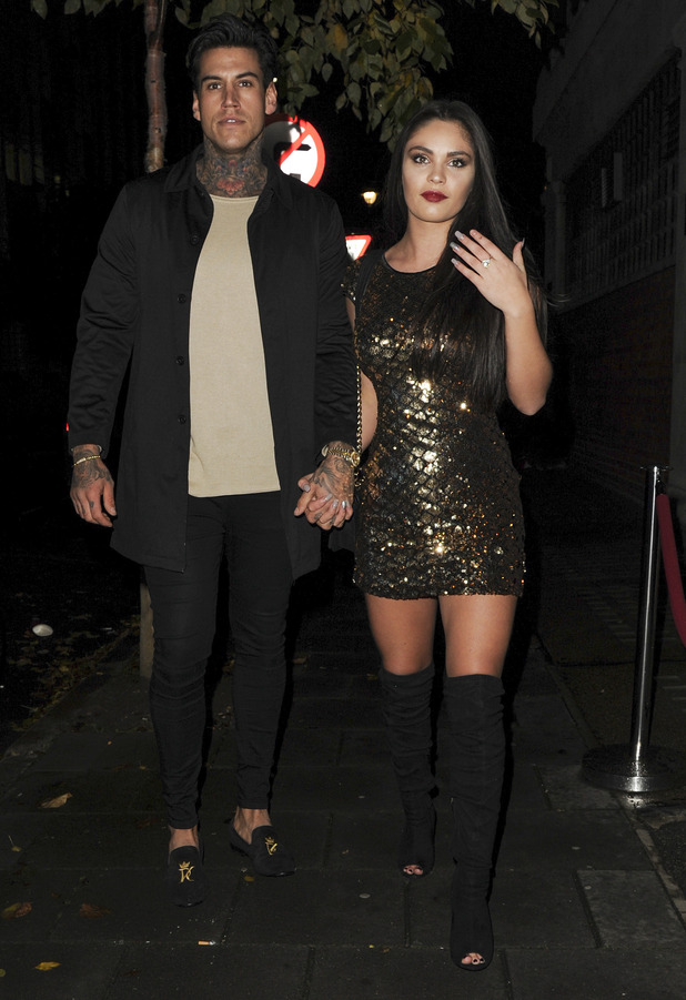 Love Island stars Terry Walsh and Emma-Jane Woodhams attend Olivia Buckland's Quiz clothing launch party, London, 16 November 2016