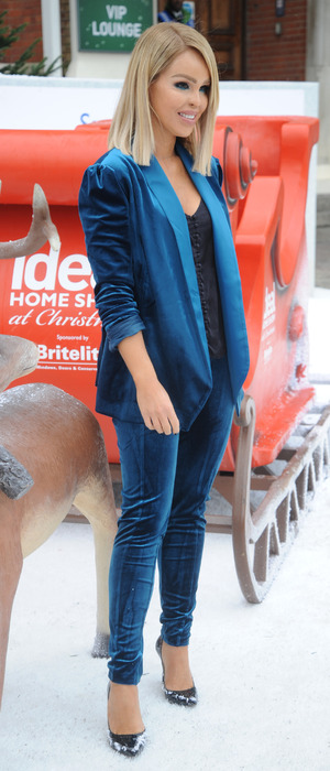 Katie Piper wearing blue suit at the Ideal Home Show in London, 23 November 2016