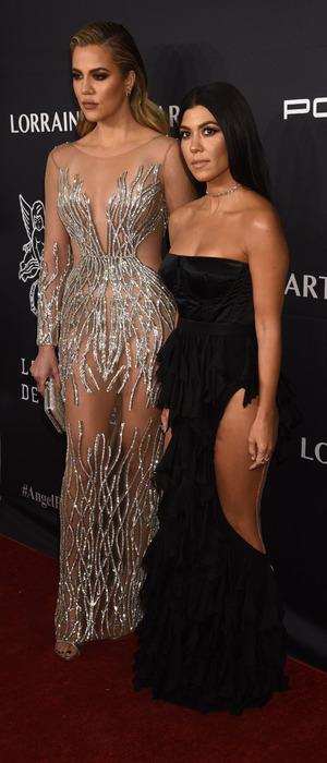 Khoe Kardashian, Kourtney Kardashian at Gabrielle's Angel Ball in New York, 21 November 2016