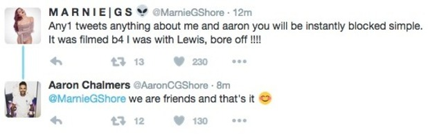 Marnie Simpson tweets about Aaron Chalmers romance, 1 December