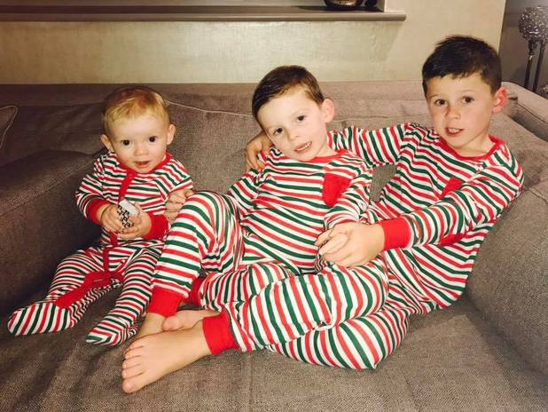 Coleen Rooney shares new picture of Kai, Klay and Kit in their festive pyjamas - 1 December 2016.