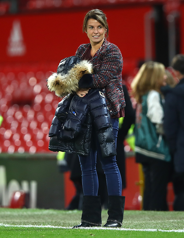 Coleen Rooney looks on from pitchside after the Premier League match between Manchester United and West Ham United at Old Trafford on November 27, 2016 in Manchester, England. (Photo by Clive Brunskill/Getty Images)