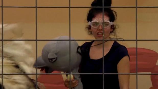Scarlett Moffatt in I'm A Celeb's Critter Console bushtucker trial 2016