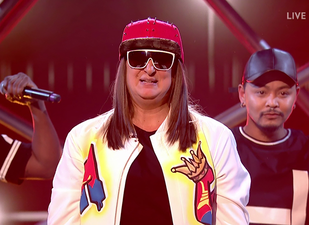 Honey G performs for the judges on 'The X Factor'. Broadcast on ITV1HD
