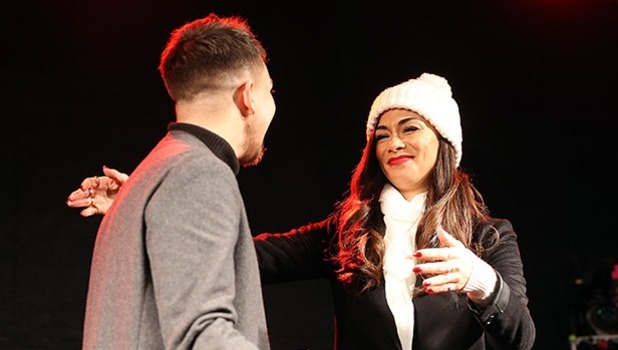 X Factor Finalist Matt Terry and his mentor Nicole Scherzinger at the singers homecoming gig in Bromley, Kent