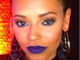 Mel B is 'feeling blue' thanks to blue eyes and lips by make-up Celena Hancock, 6 December 2016